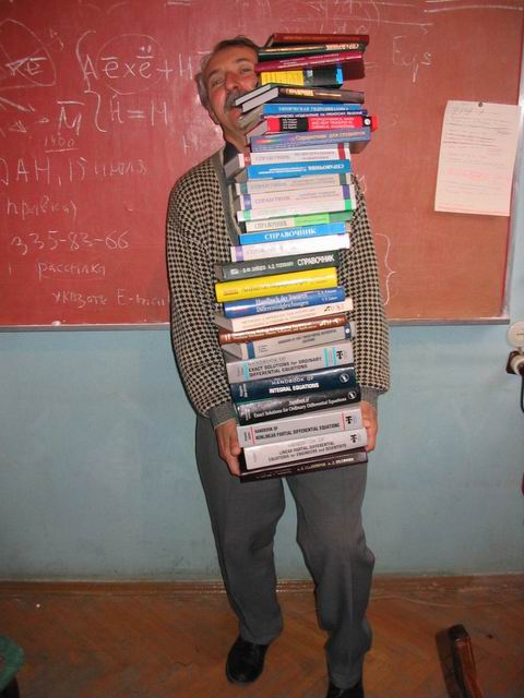 Andrei Polyanin with his books, 2004 - 2